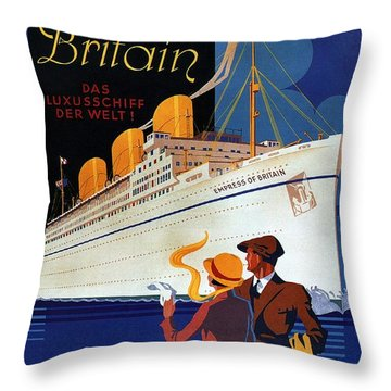 Canadian Pacific - Hamburg-berlin - Empress Of Britain - Retro Travel Poster - Vintage Poster Throw Pillow