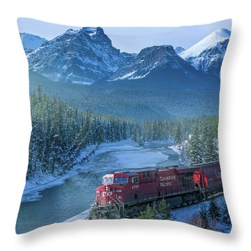 Canadian Pacific Railway Through The Rocky Mountains Throw Pillow by Rod Jellison