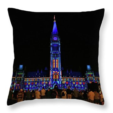 Canadian Parliament Light Show Throw Pillow by Charline Xia