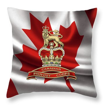 Canadian Provost Corps - C Pro C Badge Over Canadian Flag Throw Pillow by Serge Averbukh