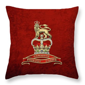 Canadian Provost Corps - C Pro C Badge Over Red Velvet Throw Pillow by Serge Averbukh