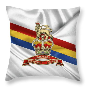 Canadian Provost Corps - C Pro C Badge Over Unit Colours Throw Pillow by Serge Averbukh