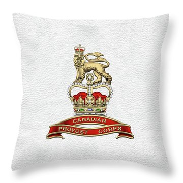 Canadian Provost Corps - C Pro C Badge Over White Leather Throw Pillow by Serge Averbukh