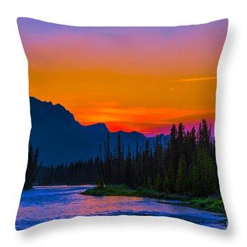 Canadian Rocky Sunset Throw Pillow by John Roberts