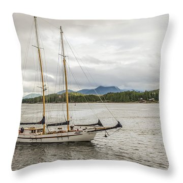 Canadian Sailing Schooner Throw Pillow by Timothy Latta