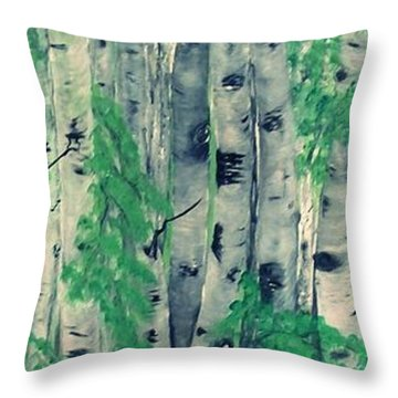Throw Pillow featuring the painting Canadian White  Poplar by Sharon Duguay