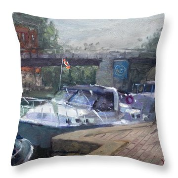 Boats In Harbor Throw Pillows