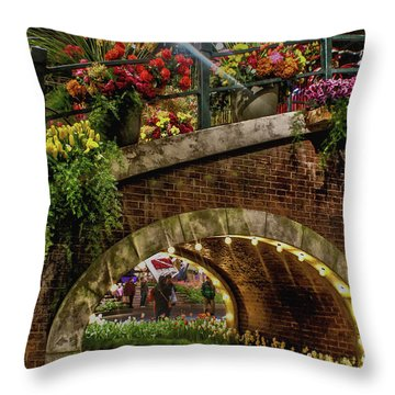 Canal And Bridge  Throw Pillow