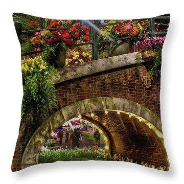 Canal And Bridge  Throw Pillow