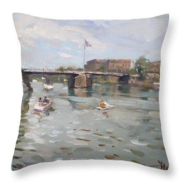 Canal At Tonawanda City Throw Pillow