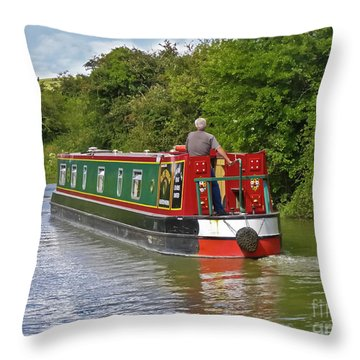 Canal Boat Throw Pillow by Terri Waters