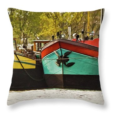Canal Boats Throw Pillow by Jill Smith