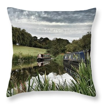 Canal Boats Throw Pillow by RKAB Works
