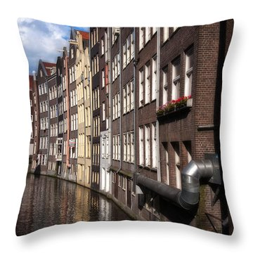 Canal Houses Throw Pillow by Joan Carroll
