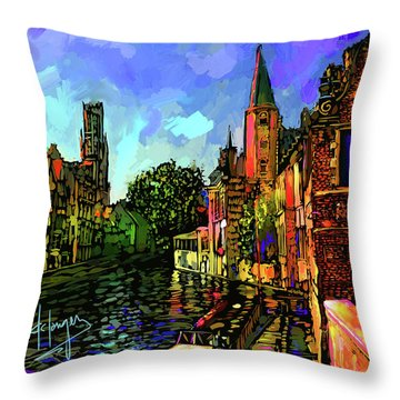 Canal In Bruges Throw Pillow