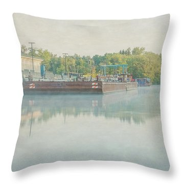 Throw Pillow featuring the photograph Canal In Pastels by Everet Regal