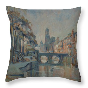 Canal In Utrecht Throw Pillow