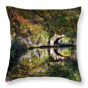 Canal Path In Autumn Throw Pillow