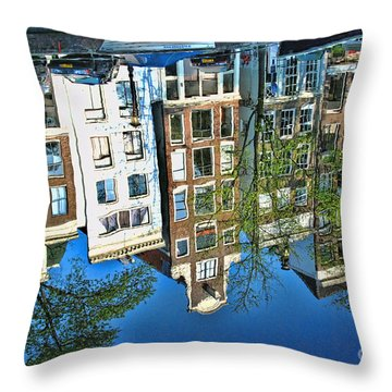 Throw Pillow featuring the photograph Amsterdam Canal Reflection  by Allen Beatty