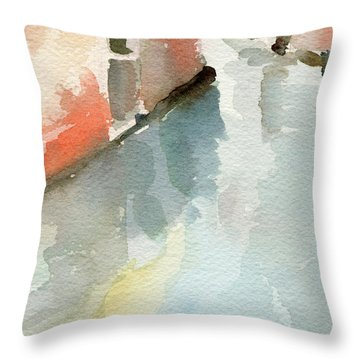 Canal Reflection Watercolor Painting Of Venice Italy Throw Pillow