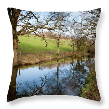 Canal Reflections Throw Pillow by Helen Northcott