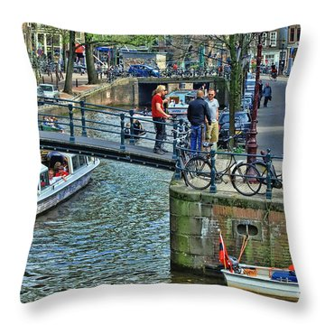 Throw Pillow featuring the photograph Amsterdam Canal Scene 1 by Allen Beatty