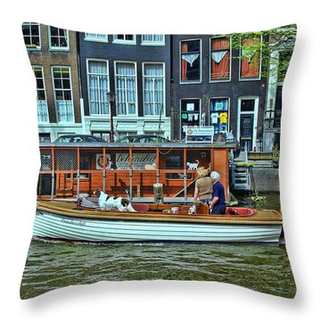Throw Pillow featuring the photograph Amsterdam Canal Scene 10 by Allen Beatty