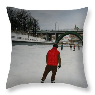 Canal Skate Throw Pillow