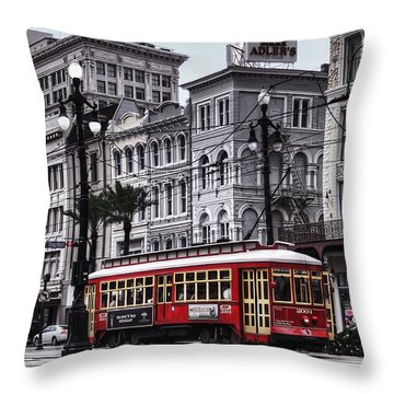 Canal Street Trolley Throw Pillow by Tammy Wetzel
