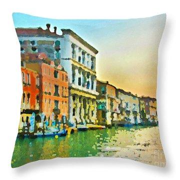 Canal Sunset - Venice Throw Pillow