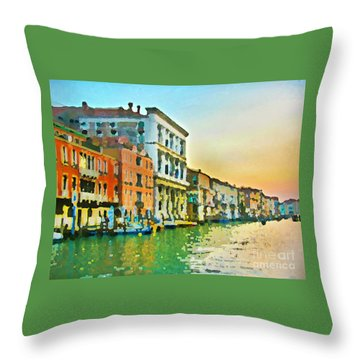 Canal Sunset - Venice Throw Pillow by Tom Cameron