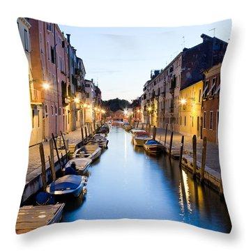 Canale Blu Throw Pillow by Marco Missiaja