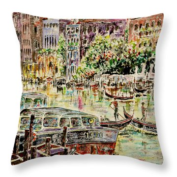 Canale Grande Throw Pillow by Alfred Motzer