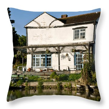 Canalside Cottage Throw Pillow