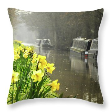Canalside Daffodils Throw Pillow