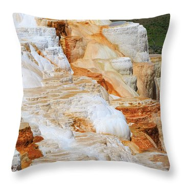 Canary Spring Mammoth Hot Springs Upper Terraces Throw Pillow by Louise Heusinkveld