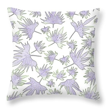 Canary Vine Leaves - Purple And Green Throw Pillow by Sandra Foster