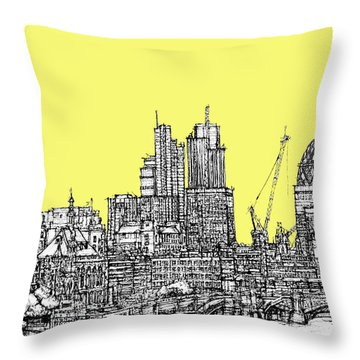 Canary Yellow London Skyline Throw Pillow
