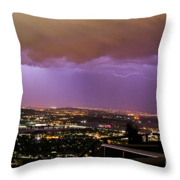 Throw Pillow featuring the photograph Canberra Lightning Storm by Angela DeFrias