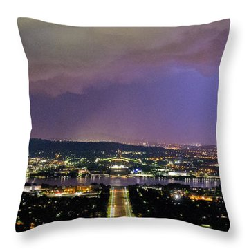 Throw Pillow featuring the photograph Canberra Stormy Night by Angela DeFrias