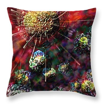 Cancer Cells Throw Pillow by Russell Kightley
