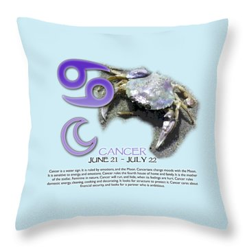 Cancer Sun Sign Throw Pillow