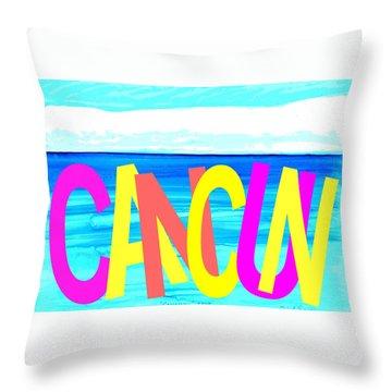 Cancun Poster T-shirt Throw Pillow by Dick Sauer