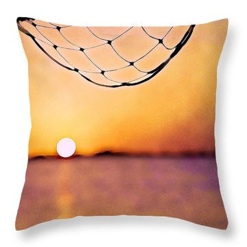 Cancun Sunset On The Lake Throw Pillow