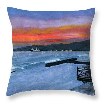 Throw Pillow featuring the painting Candidasa Sunset Bali Indonesia by Melly Terpening