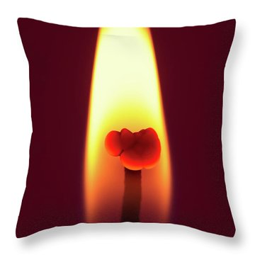 Candle Flame Macro Throw Pillow by Wim Lanclus