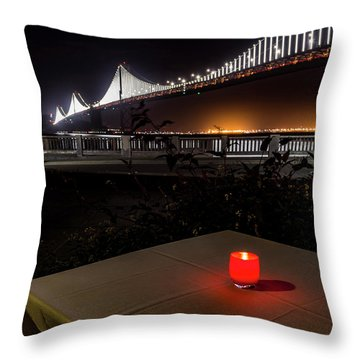 Throw Pillow featuring the photograph Candle Lit Table Under The Bridge by Darcy Michaelchuk
