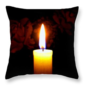 Candlelight And Roses Throw Pillow by Will Borden