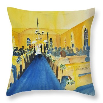 Candlelight Wedding At The Historic Ryssby Church Throw Pillow