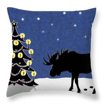 Candlelit Christmas Tree And Moose In The Snow Throw Pillow by Nancy Mueller